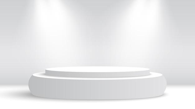 Białe okrągłe podium i reflektory. piedestał. .