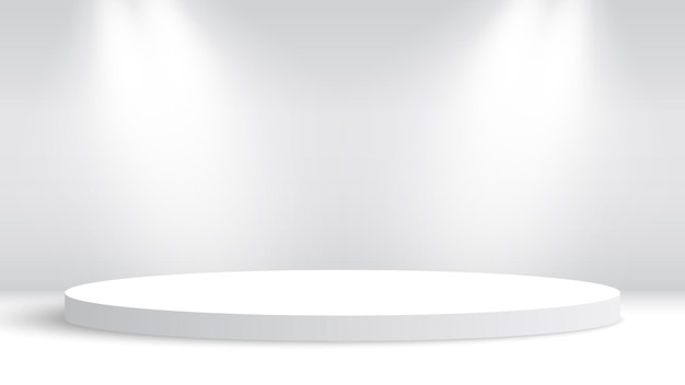 Białe okrągłe podium i reflektory. piedestał.