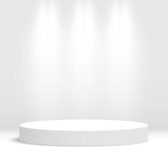 Białe okrągłe podium. piedestał. scena. ilustracja.