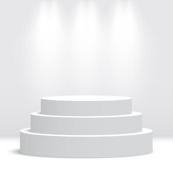Białe Okrągłe Podium. Piedestał. Scena. Ilustracja. Premium Wektorów