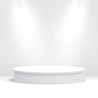 Białe okrągłe podium. piedestał.