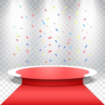 Białe okrągłe podium z czerwonym dywanem i kolorowym konfetti. scena na ceremonię wręczenia nagród. cokół z reflektorami.