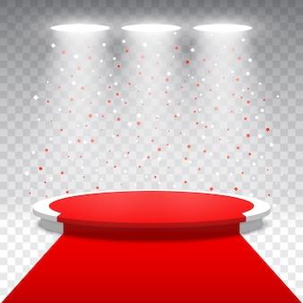 Białe okrągłe podium z czerwonym dywanem i konfetti na przezroczystym tle. scena na ceremonię wręczenia nagród z reflektorami. piedestał. ilustracja.