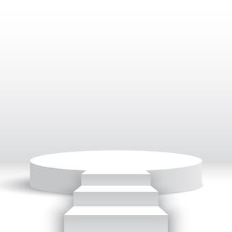 Białe okrągłe podium ze schodami pusty cokół ze schodami platforma ekspozycyjna produktów stage