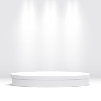 Białe okrągłe puste podium. piedestał. scena. ilustracja.