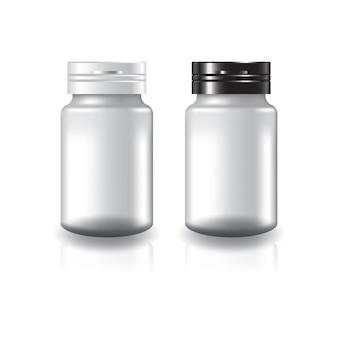 Białe okrągłe suplementy lub butelka leku z dwukolorową czarnobiałą pokrywką.