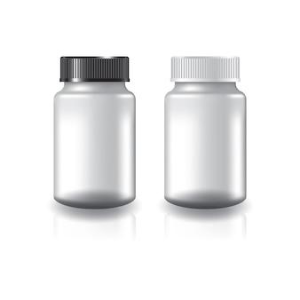 Białe okrągłe suplementy lub butelka na lekarstwa z dwukolorową, czarno-białą pokrywą z rowkiem.