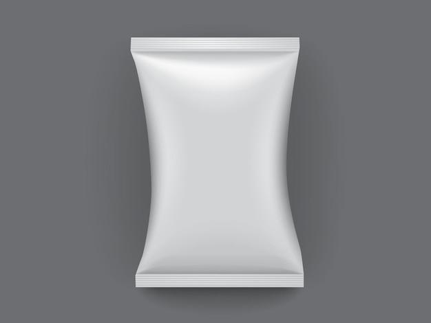 Białe opakowanie papierowe na białym tle na ciemnym tle