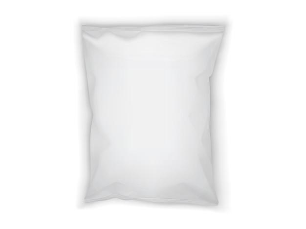 Białe opakowanie papierowe na białym tle