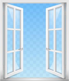 Białe otwarte drzwi