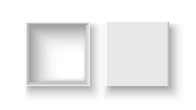 Białe otwarte pudełko i ilustracja na okładce