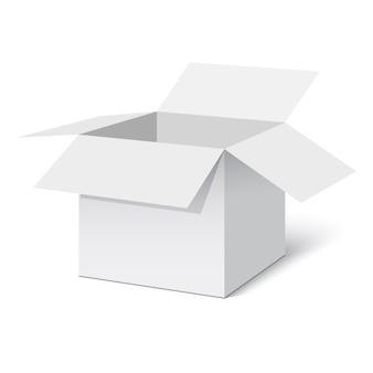 Białe otwarte pudełko. ilustracja.