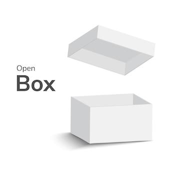 Białe otwarte pudełko na białym tle. otwarte pudełko z cieniem. ilustracja