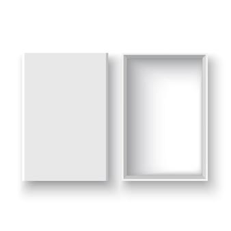 Białe otwarte pudełko z wieczkiem