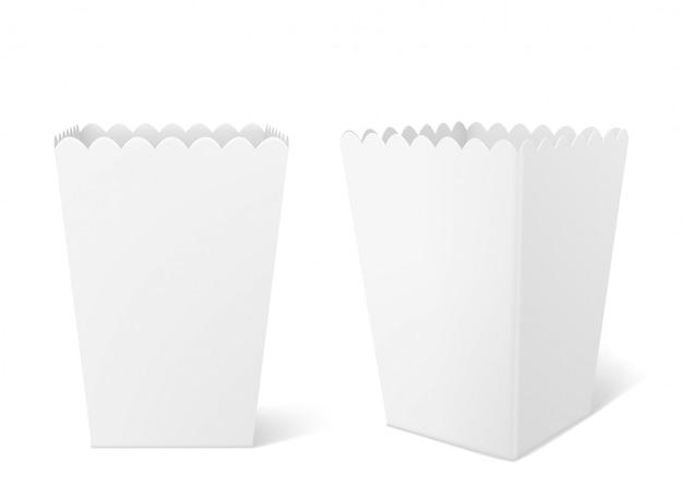 Białe papierowe pudełko na popcorn w kinie