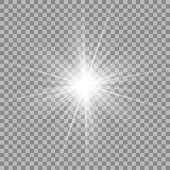 Białe, piękne światło wybucha przezroczystym wybuchem. wektor, jasna ilustracja dla idealnego efektu z błyszczy. jasna gwiazda. przezroczysty połysk gradientu połysku, jasny błysk.