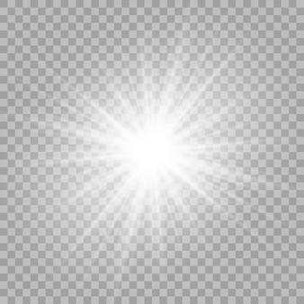 Białe, piękne światło wybucha przezroczystym wybuchem.