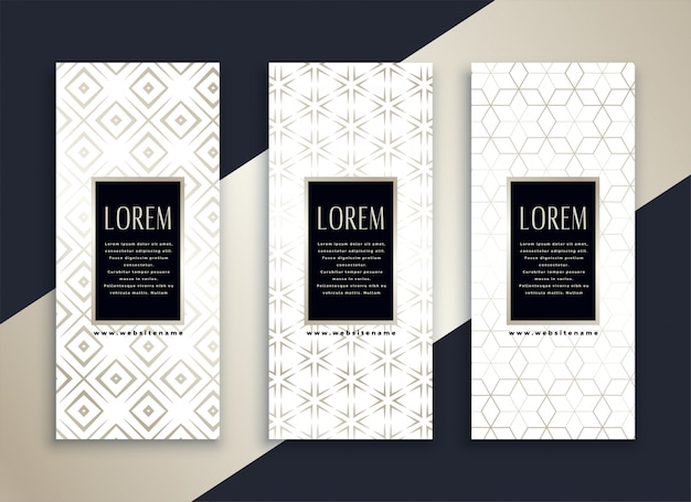 Białe pionowe czyste banery ustawione z minimalnym wzorem