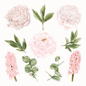 Białe piwonie i różowe hiacynty. kwiaty ślubne. wakacje