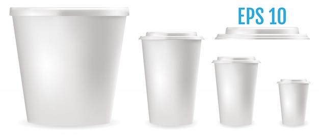 Białe plastikowe kubki do żywności