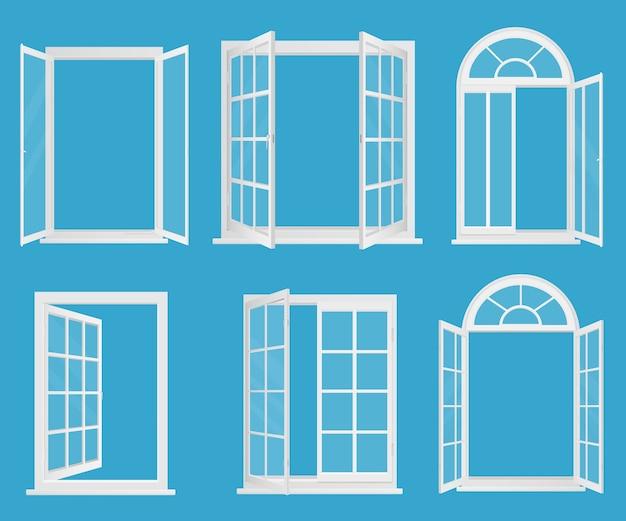Białe plastikowe realistyczne okna z przezroczystym szkłem