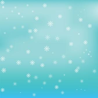 Białe płatki śniegu na niebieskim tle gradientu gradientu
