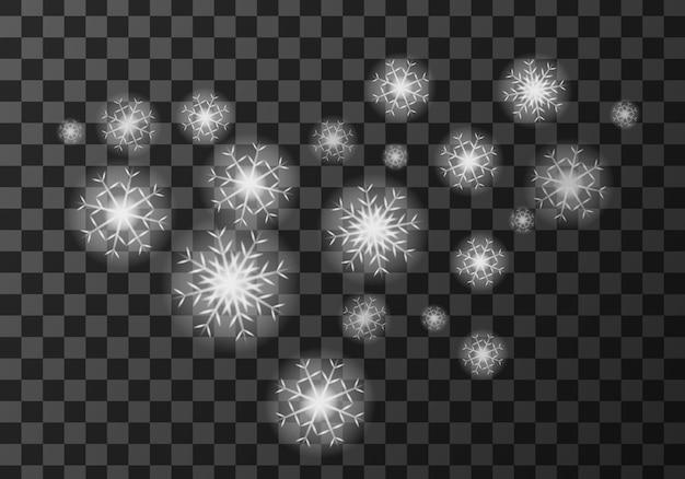 Białe płatki śniegu na przezroczystym