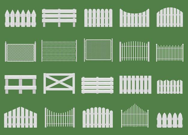 Białe płoty. ogrodzenia drewniane, ogrodzenia drewniane ogrodowe lub domowe. wiejski biały płot na białym tle zestaw. ogrodzenie drewniane, ogród z barierkami, ogrodzenie drewniane