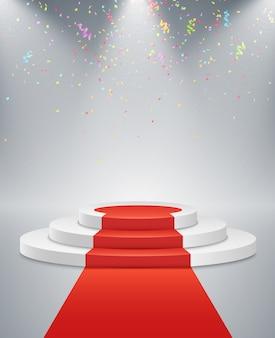 Białe podium i czerwona droga na jasnym tle. jasne białe światło z reflektorów. latające konfetti. lekki cokół.