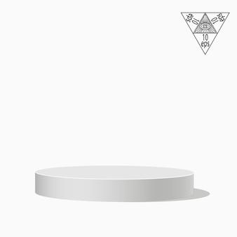 Białe podium jednopoziomowe na białym tle