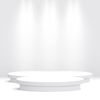 Białe podium. piedestał. ilustracja.