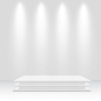 Białe podium. piedestał. ilustracji wektorowych.