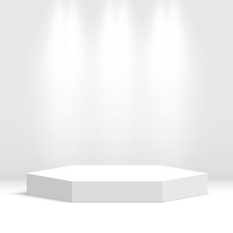 Białe Podium. Piedestał. Scena. Ilustracja. Premium Wektorów