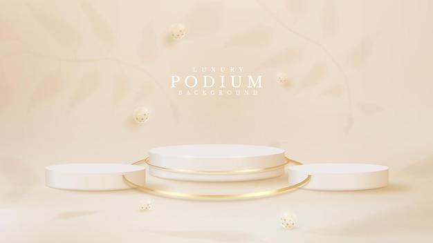 Białe podium z 3d kulowym luksusem i elementem cienia liści, realistyczny styl tła, pusta przestrzeń do umieszczania produktów lub tekstu do reklamy. ilustracji wektorowych.