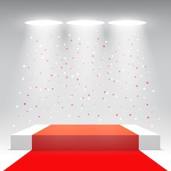 Białe podium z czerwonym dywanem i konfetti. scena na ceremonię wręczenia nagród. piedestał. ilustracja.
