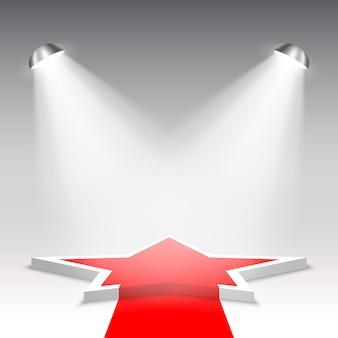 Białe podium z czerwonym dywanem. piedestał. gwiazda. scena na ceremonię wręczenia nagród. scena pięciokątna z reflektorami. .