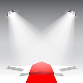 Białe podium z czerwonym dywanem. piedestał. gwiazda. scena na ceremonię wręczenia nagród. scena pięciokątna. .