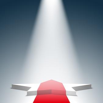 Białe podium z czerwonym dywanem. piedestał. gwiazda. scena. reflektor. .