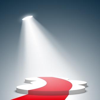 Białe podium z czerwonym dywanem. piedestał. reflektor. .