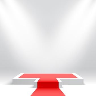 Białe podium z czerwonym dywanem pusty cokół z reflektorami platforma ekspozycyjna produktów