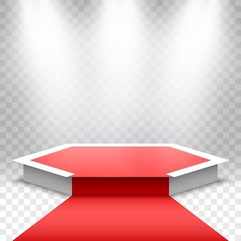 Białe podium z czerwonym dywanem. scena na ceremonię wręczenia nagród. cokół z reflektorami.