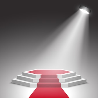 Białe podium z czerwonym dywanem z reflektorem. piedestał. scena. .