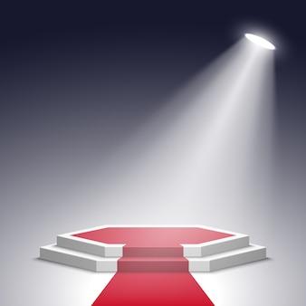 Białe podium z czerwonym dywanem z reflektorem. piedestał. .
