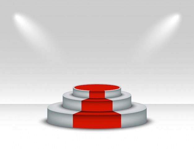 Białe podium z czerwonym dywanem. zwycięzca cokole z oświetleniem na białym tle. scena na podium z czerwonego dywanu na uroczystość wręczenia nagród.