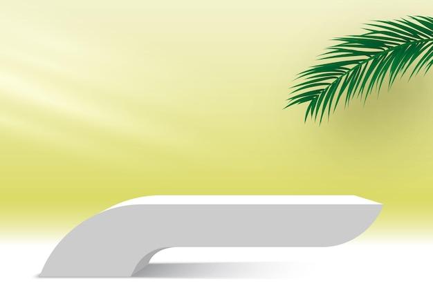 Białe podium z liśćmi palmowymi i lekką platformą do wyświetlania produktów kosmetycznych na cokole