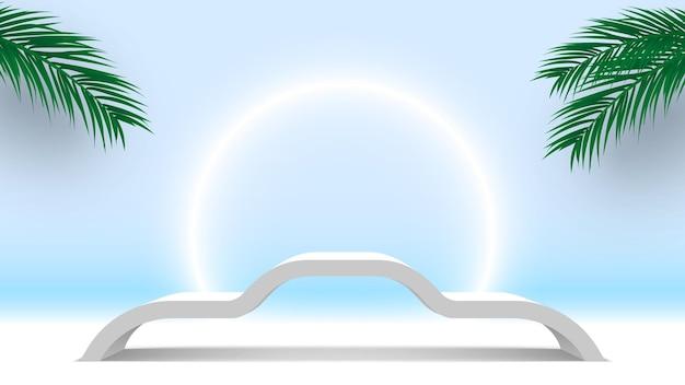 Białe podium z liśćmi palmowymi produkty na cokole platforma wyświetlania 3d render stage