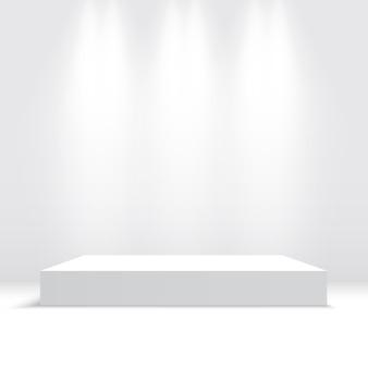 Białe podium z reflektorami. piedestał. platforma. ilustracja.