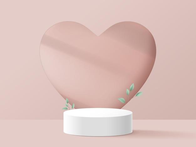 Białe podium ze ścianą serca.