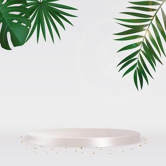 Białe podium ze złotym konfetti i palmą. ilustracja wektorowa