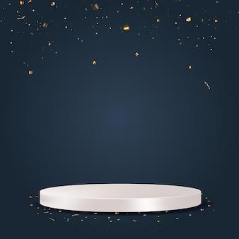 Białe podium ze złotym konfetti. ilustracja wektorowa